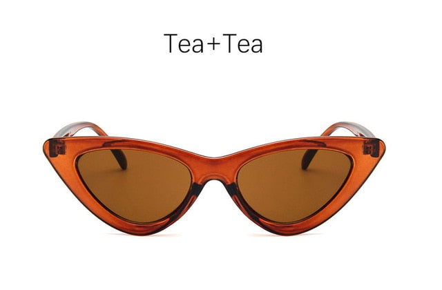 Retro Cat Eye Sunglasses-Ladies Sunglasses-Tea Tea-Product Detail: cat eye shade for women fashion sunglasses brand woman vintage retro triangular cat-eye glasses sunglasses Sexy Frame Material: Poly-carbonate Style: Cat Eye Lenses Optical Attribute: UV400, Photo chromic Dimensions: Lens Width: 52 mm Lens Height: 45 mm-Keyomi-Sook