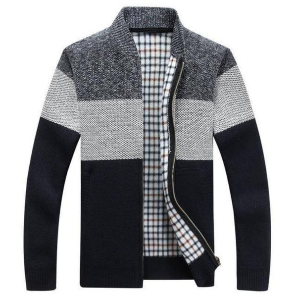 Autumn Knitted Color Block Zip Cardigan-Men's Jackets, Coats & Sweaters-Black Stripe-M-Keyomi-Sook