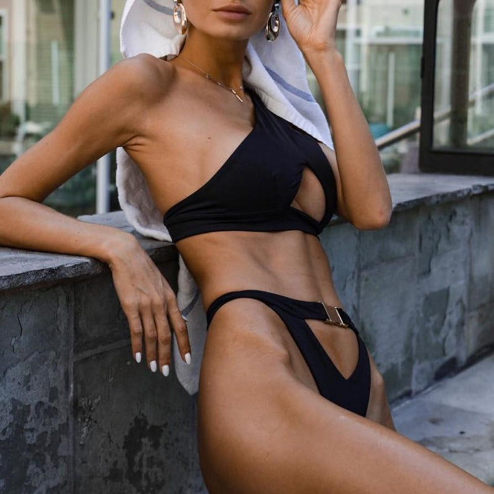 Women'S One Shoulder Buckle Push Up Hollow Out Thong Swimsuit-Ladies Swimwear-Product Details: Women's One Shoulder Buckle Push Up High Cut Hollow Out Thong Swimsuit Item Type: Bikinis Set Waist: High Waist Support Type: Wire Free With Pad: Yes Pattern Type: Solid Size Chart:-Keyomi-Sook