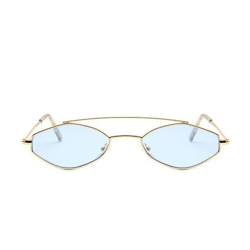 Women's Nose Resting Cat Eye Sunglasses-Ladies Sunglasses-D879 gold blue-Product Details: Women's Nose Resting Cat Eye Retro Small Double Beam Sunglasses Lenses Optical Attribute: Gradient, UV400 Lenses Material: Resin Style: Cat Eye Frame Material: Alloy Dimensions:-Keyomi-Sook