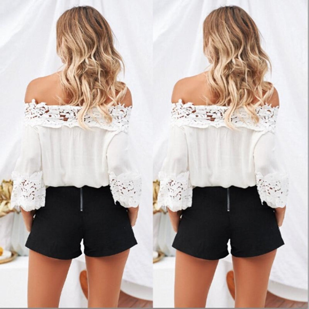 White Off Shoulder Eyelet Lace Elastic Waist Blouse-Tops, Blouses, & Tees-Product Details: Women's Off The Shoulder Chiffon Blouse Spring Or Summer Loose Tops Ladies Casual Stretch Shirt Material: Chiffon, Lace Color: White Size Chart:-Keyomi-Sook