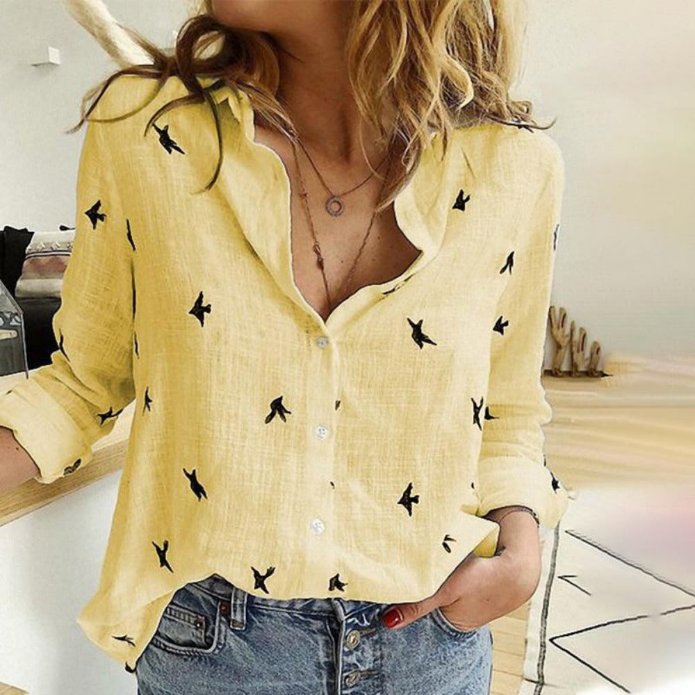 Women's Bird Print Long Sleeve Loose Shirt-Tops, Blouses, & Tees-Yellow-S-Product Details: Women's Birds Print Long Sleeve Loose Plus Size Casual Shirt Material: Polyester-Keyomi-Sook