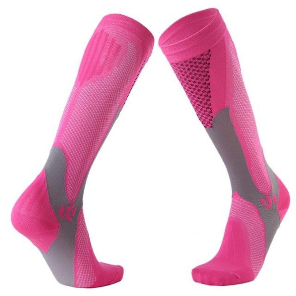 Men'S Knee High Leg Support Long Compression Socks-Men's Dress Socks-Fuchsia-S/M (42-44)-Product Details: Men's Knee High Leg Support Stretch Long Compression Socks Material: Polyester Cotton Optional Color: Blue, Black, Green, Rose Red, Orange, White Quantity: 1 Pair (2pcs)-Keyomi-Sook