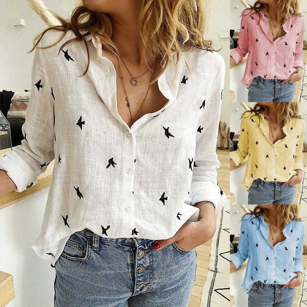 Women's Bird Print Long Sleeve Loose Shirt-Tops, Blouses, & Tees-Product Details: Women's Birds Print Long Sleeve Loose Plus Size Casual Shirt Material: Polyester-Keyomi-Sook