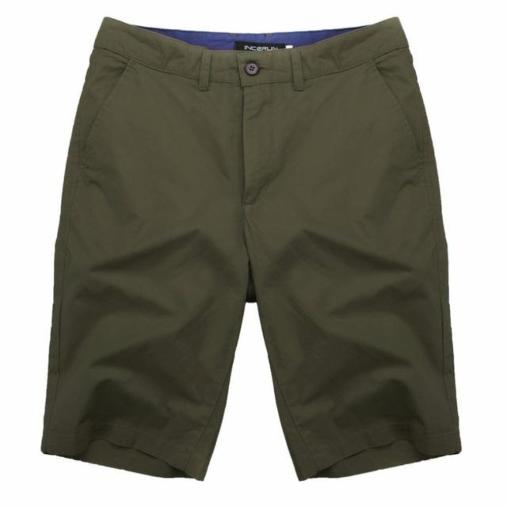 Men's Cotton Knee Length Summer Shorts-Mens Pants and Shorts-Army Green-30-Product Details: Men's Cotton Knee Length Vintage Casual Summer Shorts Item Type: Shorts Style: Casual Material: Polyester, Cotton Waist Type: Mid Closure Type: Zipper Fly Fit Type: Straight Length: Knee Length Pant Style: Regular Pattern Type: Solid Color: Red, Navy, Khaki, Beige, Grey, Black, Army Green Package Include: 1 * Shorts Size Chart:-Keyomi-Sook