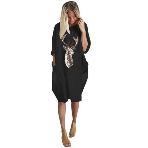Women's Moose Print Shirt Dress-Holidays-Black-S-Product Details: Women's Moose Print Knee-length Christmas Shirt Dress Material: Polyester Neckline: O-Neck-Keyomi-Sook