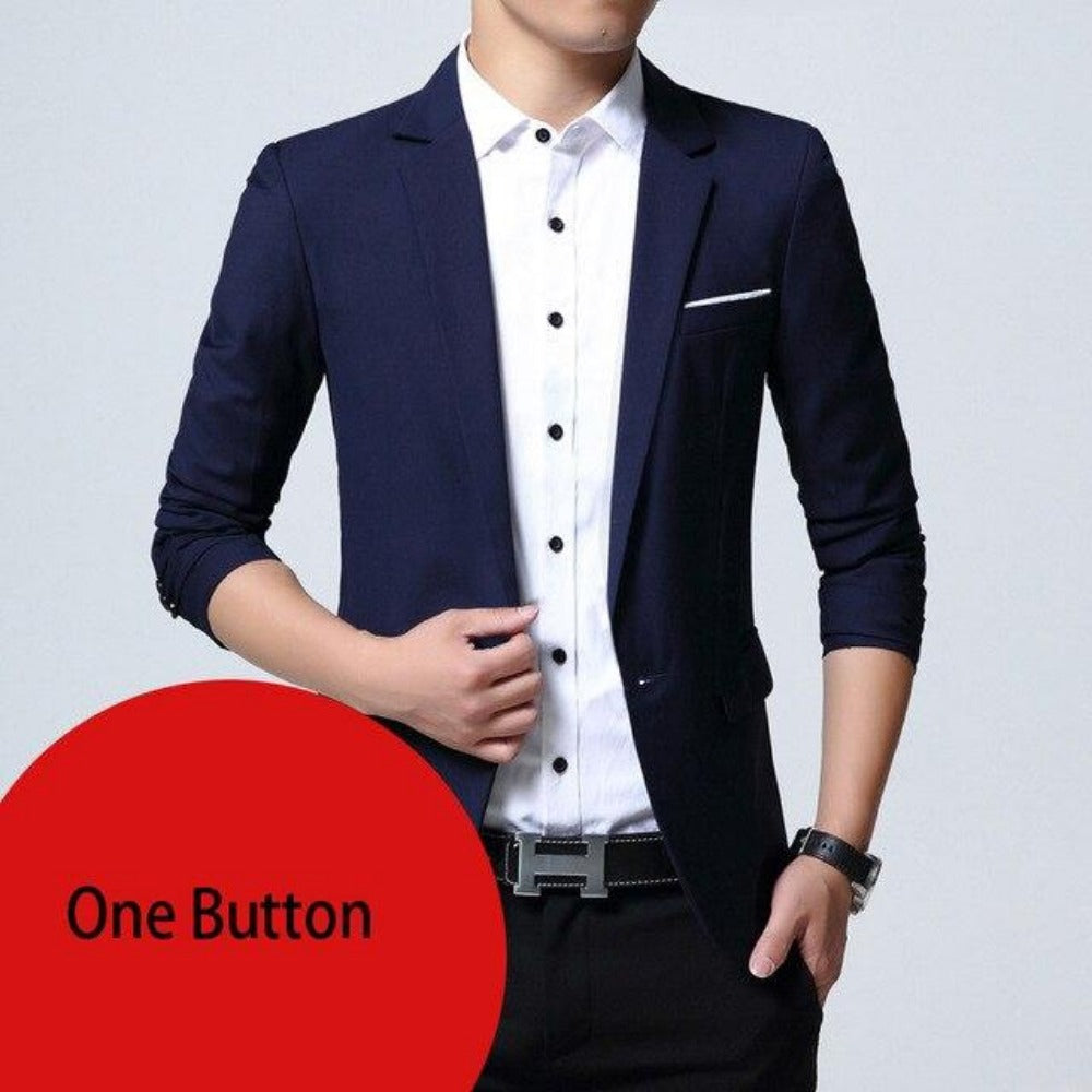 Breasted Two Button Blazer Jacket-Men's Jackets, Coats & Sweaters-navy one button-M-Product Details: Mens Slim Fit Elegant Blazer Jacket Brand Single Breasted Two Button Party Formal Business Dress Suit Size Chart:-Keyomi-Sook
