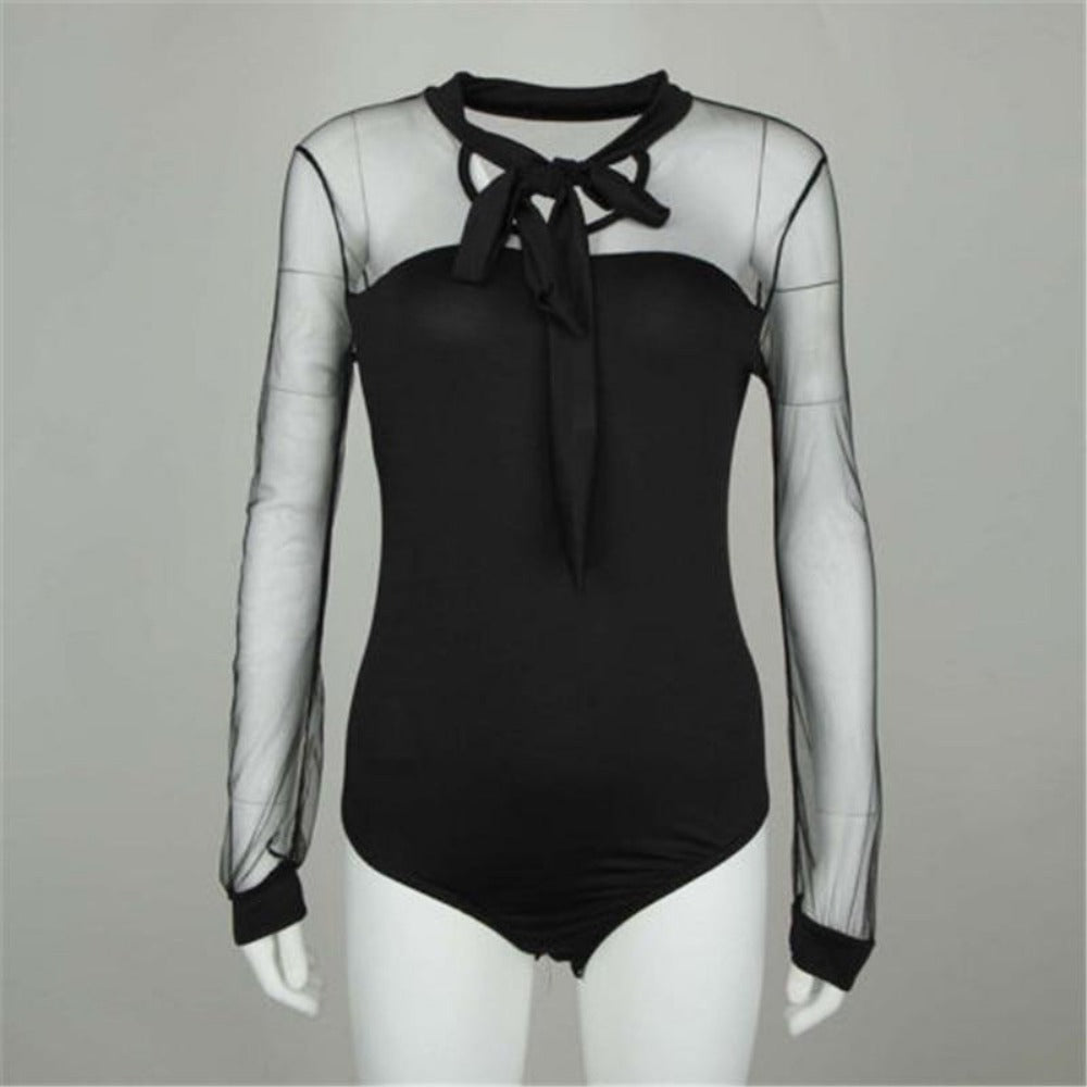 Mock Neck Patchwork Bodysuit-Bodysuits-Product Details: Summer Bodysuit Women Sexy Bow Black Mock Neck Patchwork Long Sleeve Bodysuit Transparent Tops Material: Polyester, Cotton Pattern Type: Patchwork Decoration: Lace Size Chart:-Keyomi-Sook