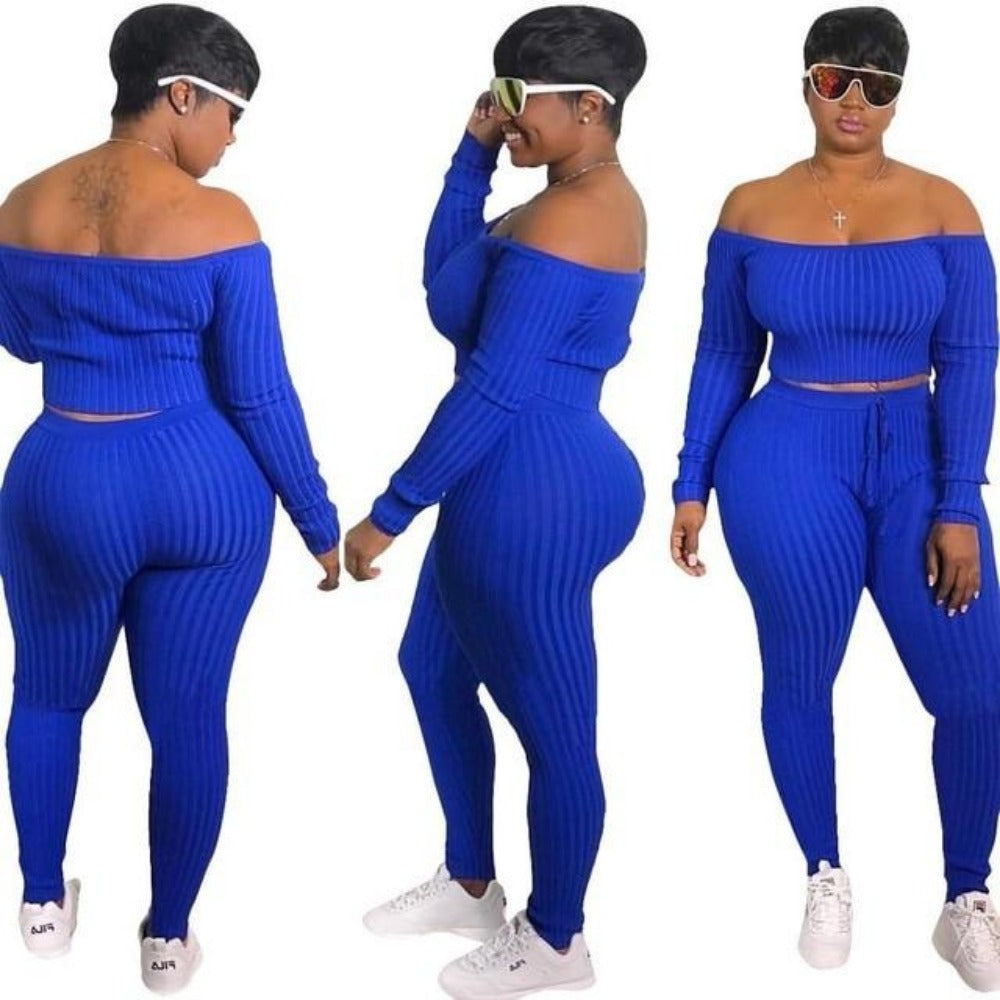 Women's Blue Ribbed Striped Crop Top & Pencil Pants Set-+Belles Rompers, Jumpers, & Sets-Blue-S-Product Details: Women's Blue Ribbed Striped Slash Neck Crop Top & Pencil Autumn Pants Set Material: Organic Cotton, Spandex, Cotton Sleeve Length (cm): Full Style: Sexy & Club Collar: Slash Neck Sleeve Style: Regular Pant Closure Type: Elastic Waist Clothing Length: Short Size Chart:-Keyomi-Sook