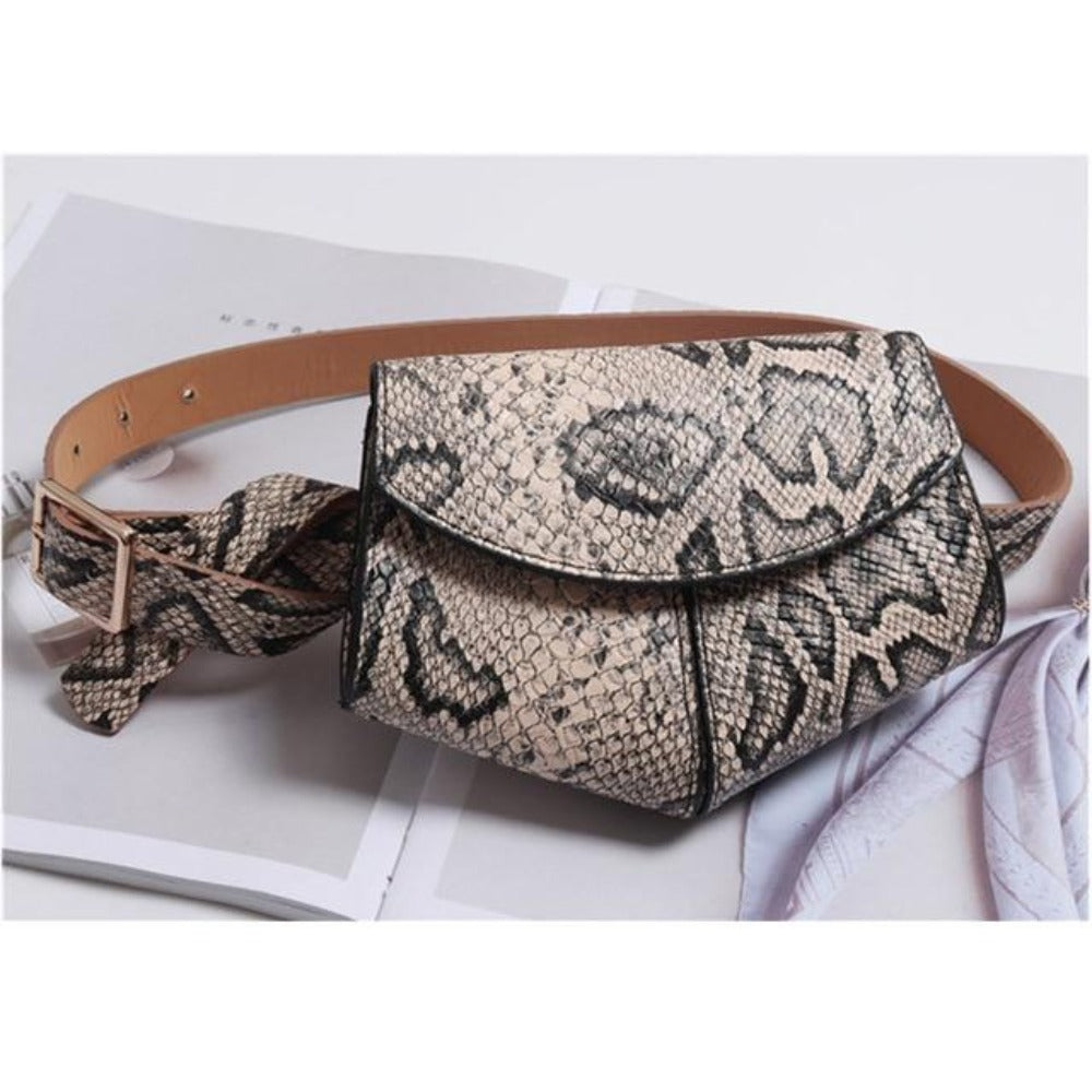 Women'S Serpentine Waist Leather Belt Bag-Women - Bags - Shoulder Bags-Khaki waist bag-Product Details: Women's Serpentine Fanny Pack Mini Disco Waist Leather Belt Bag Item Type: Waist Packs Main Material: PU Style: Fashion Pattern Type: Solid Shape: Pillow Dimensions: Strap Drop: 102 cm Item Length: 18 cm-Keyomi-Sook