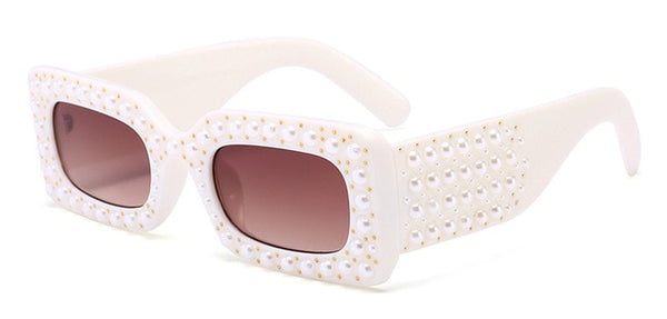 Pearl Rivet Rectangle Sunglasses-Ladies Sunglasses-white-as show in photo-Product Details: Pearl Rivet Rectangle Sunglasses Women Brand Designer Luxury Square Sun Glasses Style: Rectangle Lenses Optical Attribute: Gradient, UV400 Frame Material: Plastic Lenses Material: Polycarbonate Dimensions: Lens Height: 29 mm Lens Width: 59 mm-Keyomi-Sook