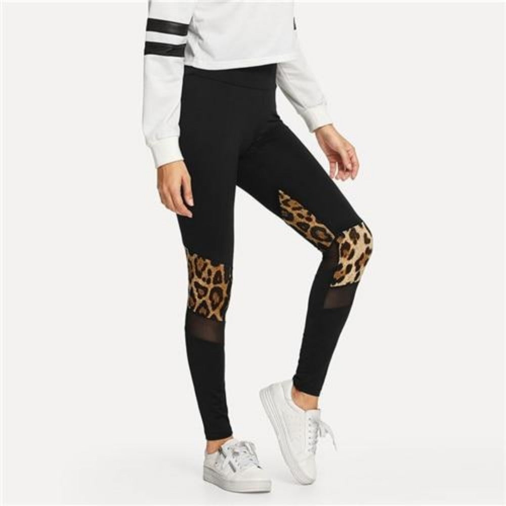 Women's Black Contrast Mesh Leopard Print Leggings-Athletic Wear-Black-S-Product Details: Women's Black Contrast Mesh Leopard Print High Waist Skinny Leggings Waist Type: High Material: Polyester, Spandex Length: Ankle-Length Pattern Type: Leopard Fabric Type: Broadcloth Color: Black Size Chart:-Keyomi-Sook