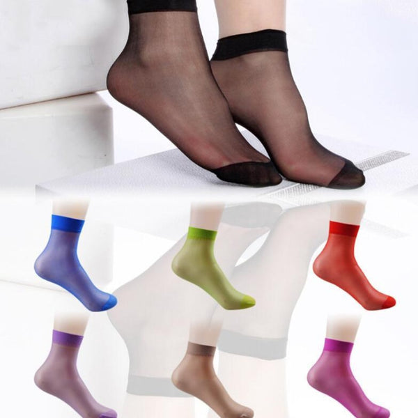 Women's Multi-Color Crystal Transparent Socks-Ladies Socks-Product Details: Women's 10 Pairs Multi-color Crystal Transparent Ankle High Socks Item Type: Sock Material: Nylon Thickness: Thin Item Length: Regular Sock Type: Casual Pattern Type: Solid Package Include: 10 Pairs Socks Size: One size-Keyomi-Sook