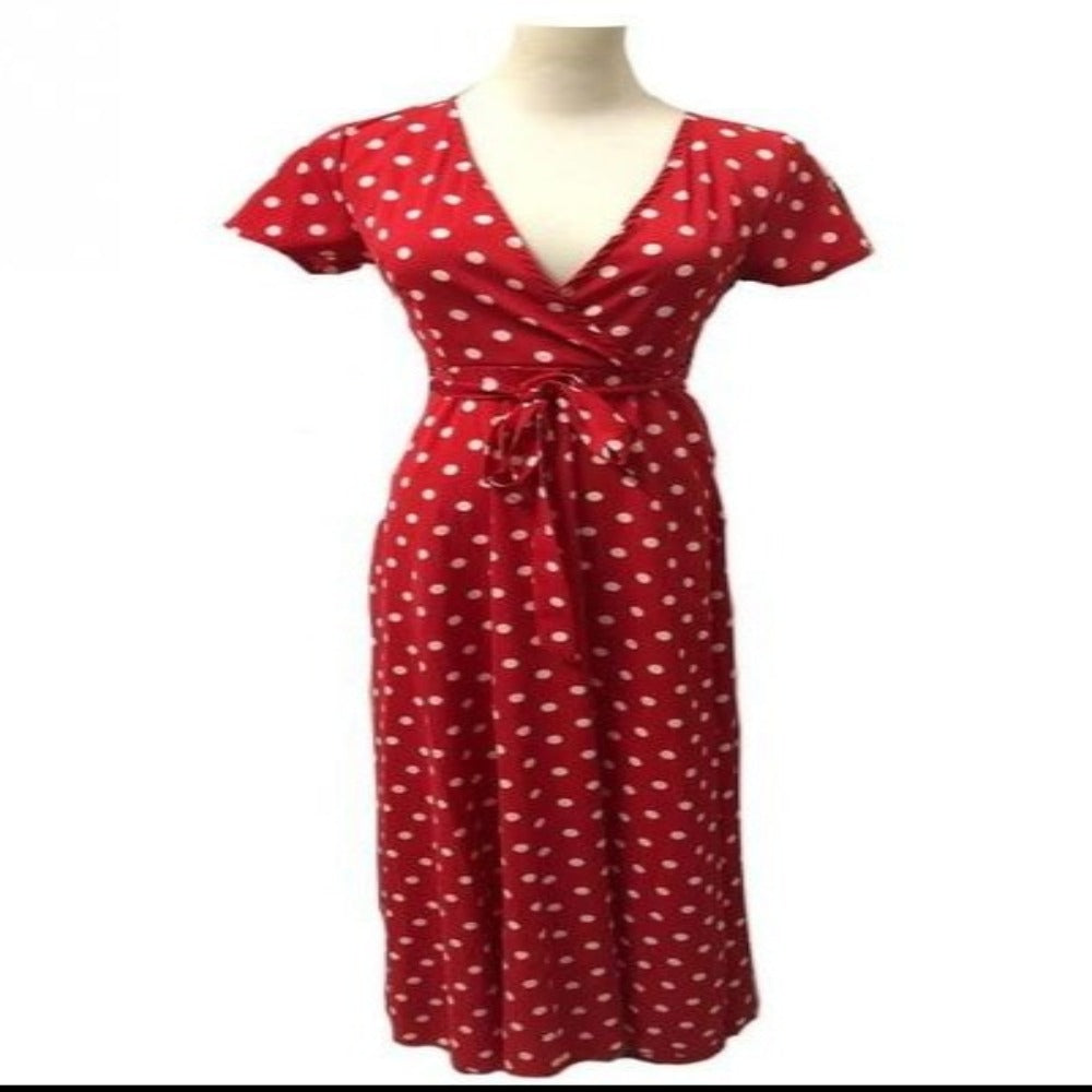 Women's Dot Evening Maxi Dress-Dresses-red-M-Product Details: Women's Red & White Dot Evening Maxi Dress Item name: Dress Style: Fashion Material: Polyester Pattern: Polka Dot Color: Black, White, Red, Navy Sleeve: Short Sleeve Collar: V-neck Size Chart:-Keyomi-Sook