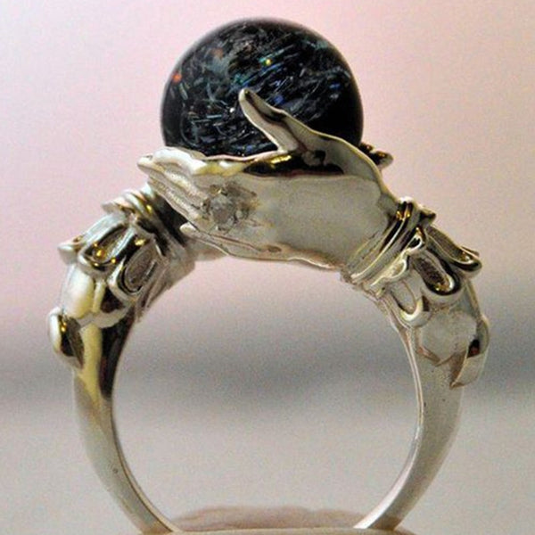 Crystal Ball Hand Charm Ring-Gifts-6-Black-Keyomi-Sook
