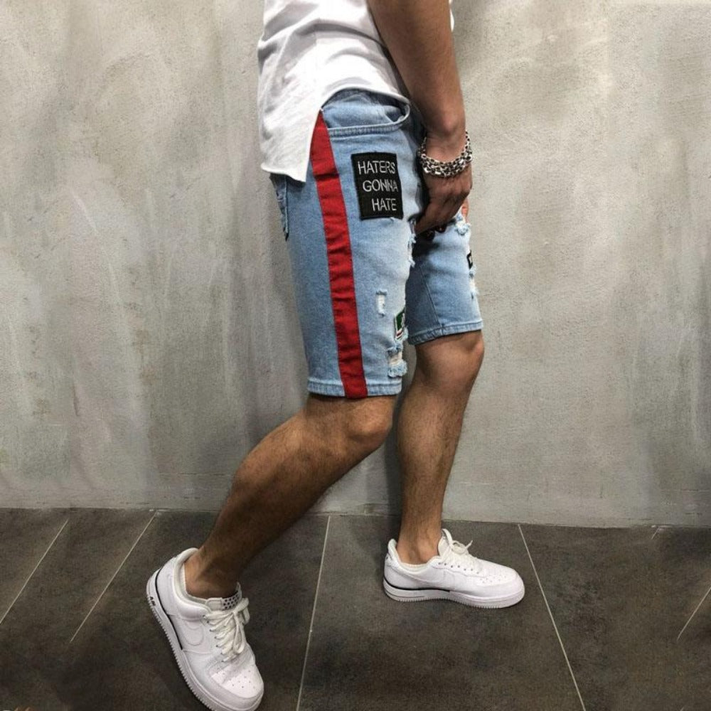 Men's Ripped Denim Short Pants-Mens Pants and Shorts-Product Details: Men's Breathable Ripped Summer Denim Short Pants Material: Cotton Waist Type: Mid Length: Shorts Pattern Type: Cartoon Decoration: Appliques Size Chart:-Keyomi-Sook