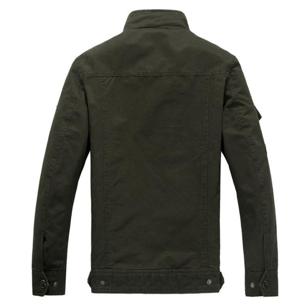 Men's Cotton Military Bomber Jacket-Men's Jackets-Product Details: Men's Plus Size Cotton Military Bomber Jacket Material: Cotton Collar: Mandarin Lining Material: Polyester Type: Wide-waisted Decoration: Patch Size Chart:-Keyomi-Sook