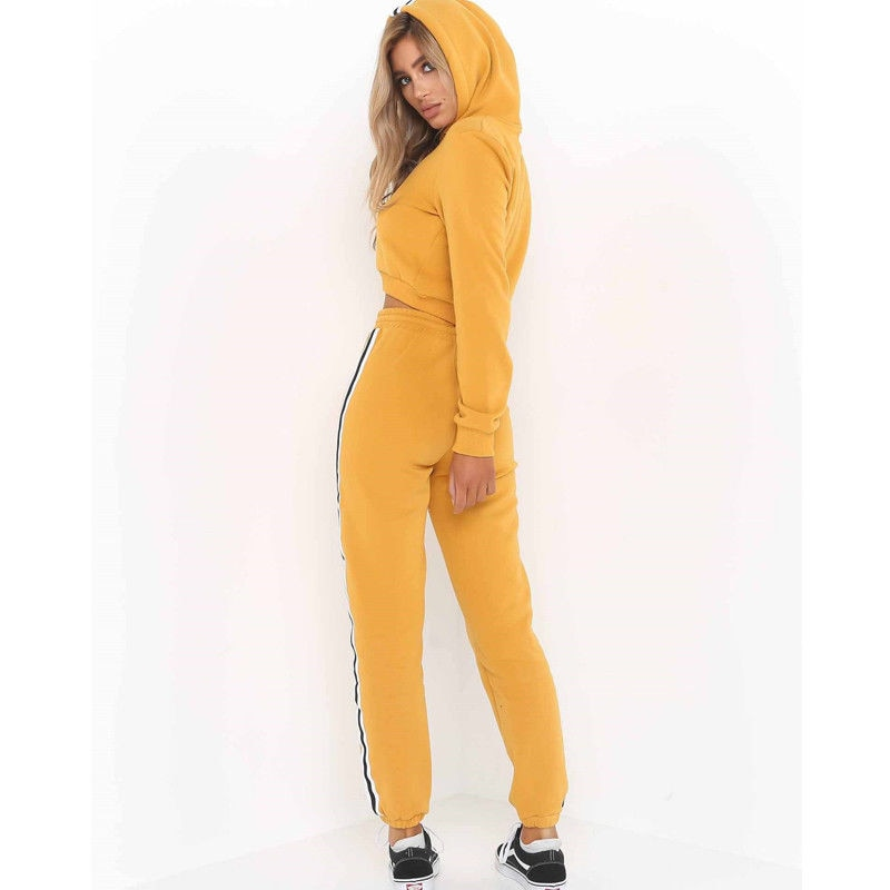 Women'S Crop Hoodies Sweatshirt Pants Set-Sweaters & Sweatshirts-Product Details: Women's Crop Hoodies Sweatshirt Casual Pants Set Material: Polyester, Cotton Color: Pink, Yellow, Wine Red Style: Fashion Women Tracksuit Size Chart :-Keyomi-Sook