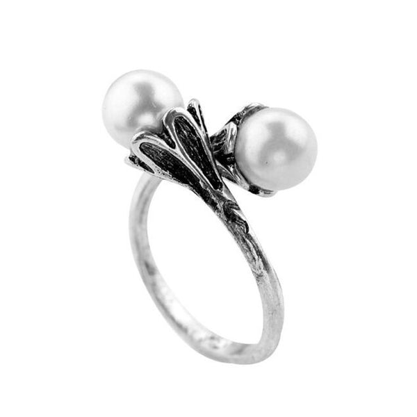 Pearl Trumpet Ring-Gifts-Product Detail: Game of Thrones Daenerys Targaryen Like Pearl Ring Metals Type: Zinc Alloy Material: Pearl and Alloy Metal color: White Gold Plated Dimension: Chain Length: 45 cm Pearl Size: 9 mm-Keyomi-Sook
