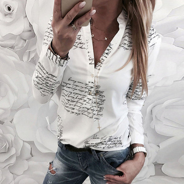 "Letters Print V Neck Long Sleeve Blouse-Tops, Blouses, & Tees-Product Detail: Women V Neck Letters Printing White Button Office Long Sleeve Shirt Top Fashion Blouse Womens Tops Material: Polyester Decoration: Button Weight: 105~135g(S-XL) Size Chart: Size Bust Sleeve Length S 95CM/37.4"" 59cm/23.2"" 63cm/24.8"" M 100CM/39.4"" 60cm/23.6"" 64.2cm/25.3"" L 106CM/41.7"" 61cm/24.0"" 65.4cm/25.7"" XL 112cm/44.1"" 62cm/24.4"" 66.6cm/26.2""-Keyomi-Sook"