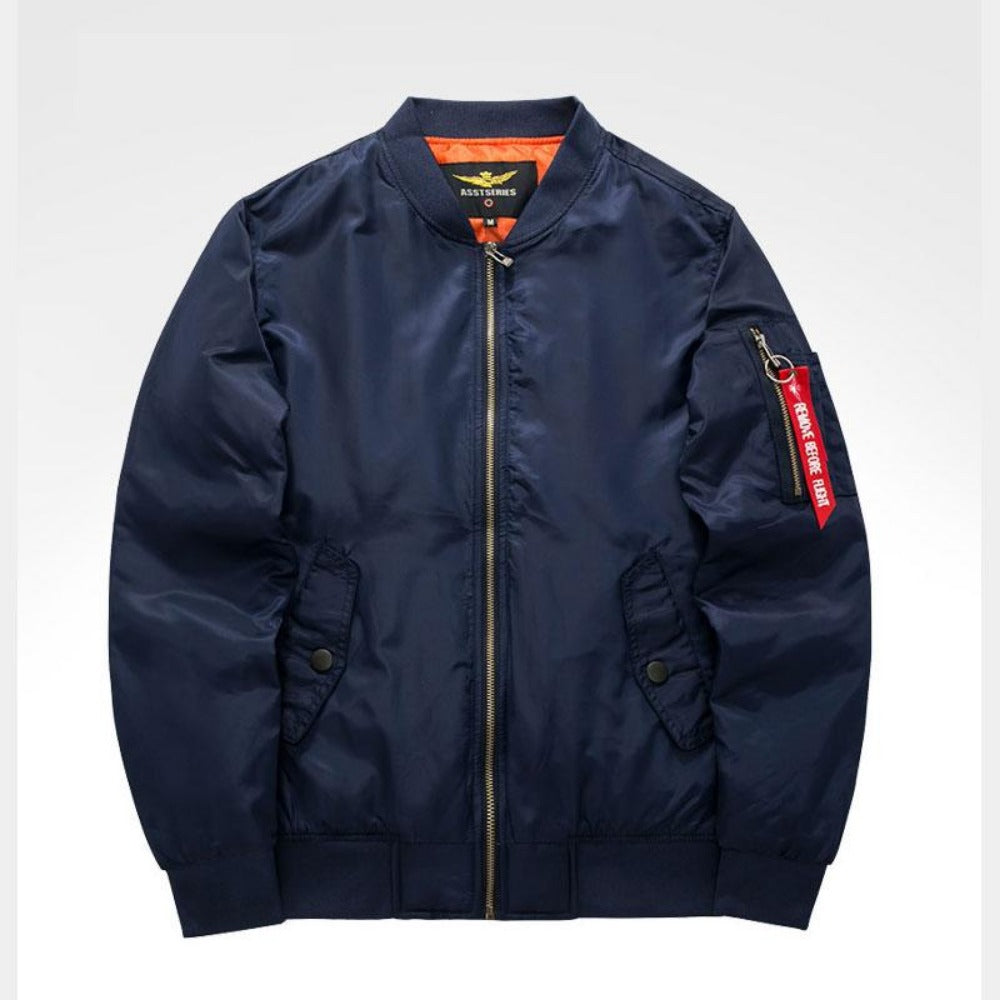 Men's Thick and Thin Military Bomber Jacket-Men's Jackets-9-BLue-S-Product Details: Men's Thick and Thin Military Motorcycle Bomber Jacket Lining Material: Polyester Material: Polyester, Nylon Cuff Style: Conventional Collar: V-Neck Size Chart:-Keyomi-Sook
