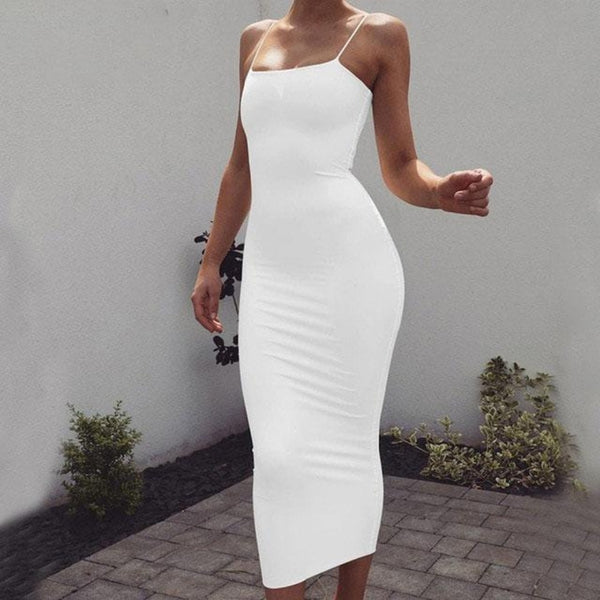 Women's Spaghetti Strap Maxi Dress-BodyCon Dresses-White-S-Product Details: Women's Spaghetti Strap Bodycon Maxi Dress Material: Polyester, Spandex Dresses Length: Ankle-Length Sleeve Style: Spaghetti Strap Size Chart:-Keyomi-Sook