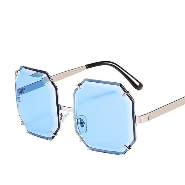 Women's Polygonal Cut Resin Lens Sunglasses-Ladies Sunglasses-D897 silver blue-Product Detail: Women Luxury Brand Designer Polygonal Cut Resin Lens Fashion Square Sunglasses Lenses Material:Resin Frame Material: Alloy Style: Square Dimension: Lens Width: 59 mmLens Height: 59 mm-Keyomi-Sook