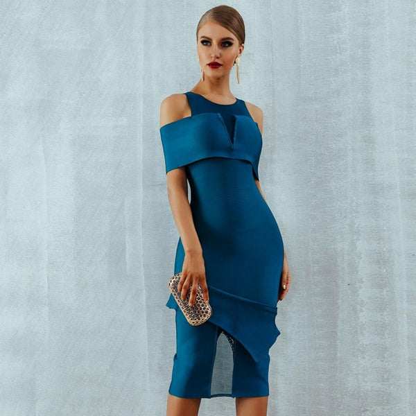 Women's Off Shoulder Hollow Out Bodycon Dress-BodyCon Dresses-As Photo-S-Product Details: Women's Sheath Off Shoulder Hollow Out Bandage Bodycon Dress Material: Mesh, Polyester, Spandex Silhouette: Sheath Waistline: Empire Dresses Length: Mid-Calf Decoration: Hollow Out Size Chart:-Keyomi-Sook