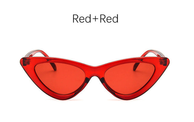 Retro Cat Eye Sunglasses-Ladies Sunglasses-Red Red-Product Detail: cat eye shade for women fashion sunglasses brand woman vintage retro triangular cat-eye glasses sunglasses Sexy Frame Material: Poly-carbonate Style: Cat Eye Lenses Optical Attribute: UV400, Photo chromic Dimensions: Lens Width: 52 mm Lens Height: 45 mm-Keyomi-Sook