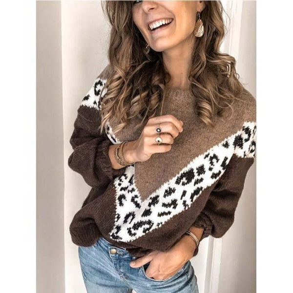 Women's Leopard Loose Sweater-Sweaters & Sweatshirts-Brown-S-Product Detail: Women's Autumn Leopard Loose Pullover Sweater Material: Cotton, Polyester, Acrylic Pattern Type: Leopard Collar: O-Neck Size Chart:-Keyomi-Sook