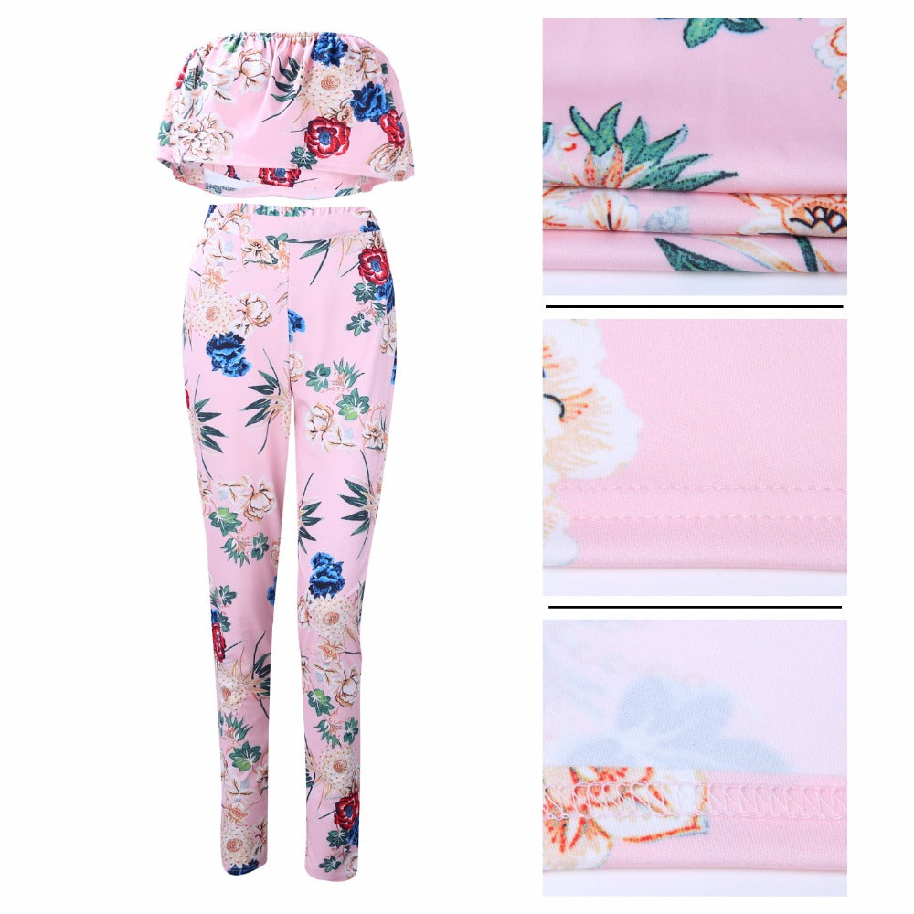 Ruffles Crop Top And Pants Floral Set-Rompers, Jumpers & Sets-Product Details: Summer Women Clothes Flower two piece set Print off shoulder crop top Ruffles cropped Tops Pants Pattern suit Material: polyester Size Chart:-Keyomi-Sook
