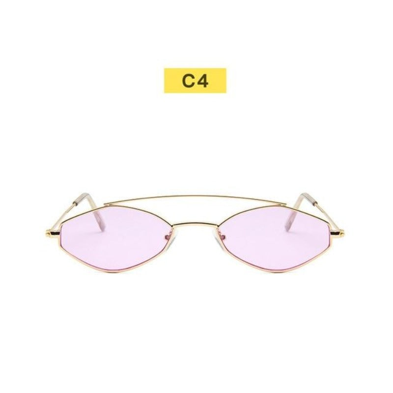 90's Oval Nose Resting Sunglasses-Ladies Sunglasses-C4-Purple Gold-Product Detail: 90s Sunglasses Women Retro Oval Sunglasses Lady Brand Designer Vintage Sunglasses Girls Eyeglasses UV400 Frame Material: Alloy Lenses Material: Acrylic Dimensions: Lens Height: 30 mm Lens Width: 52 mm-Keyomi-Sook