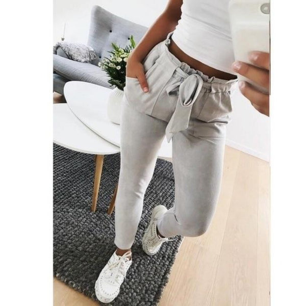 Women'S Casual High Waist Pencil Pants-Women - Apparel - Pants - Trousers-Gray-S-Product Details: Women's Casual High Waist Fashion Pencil Pants Size Chart:-Keyomi-Sook