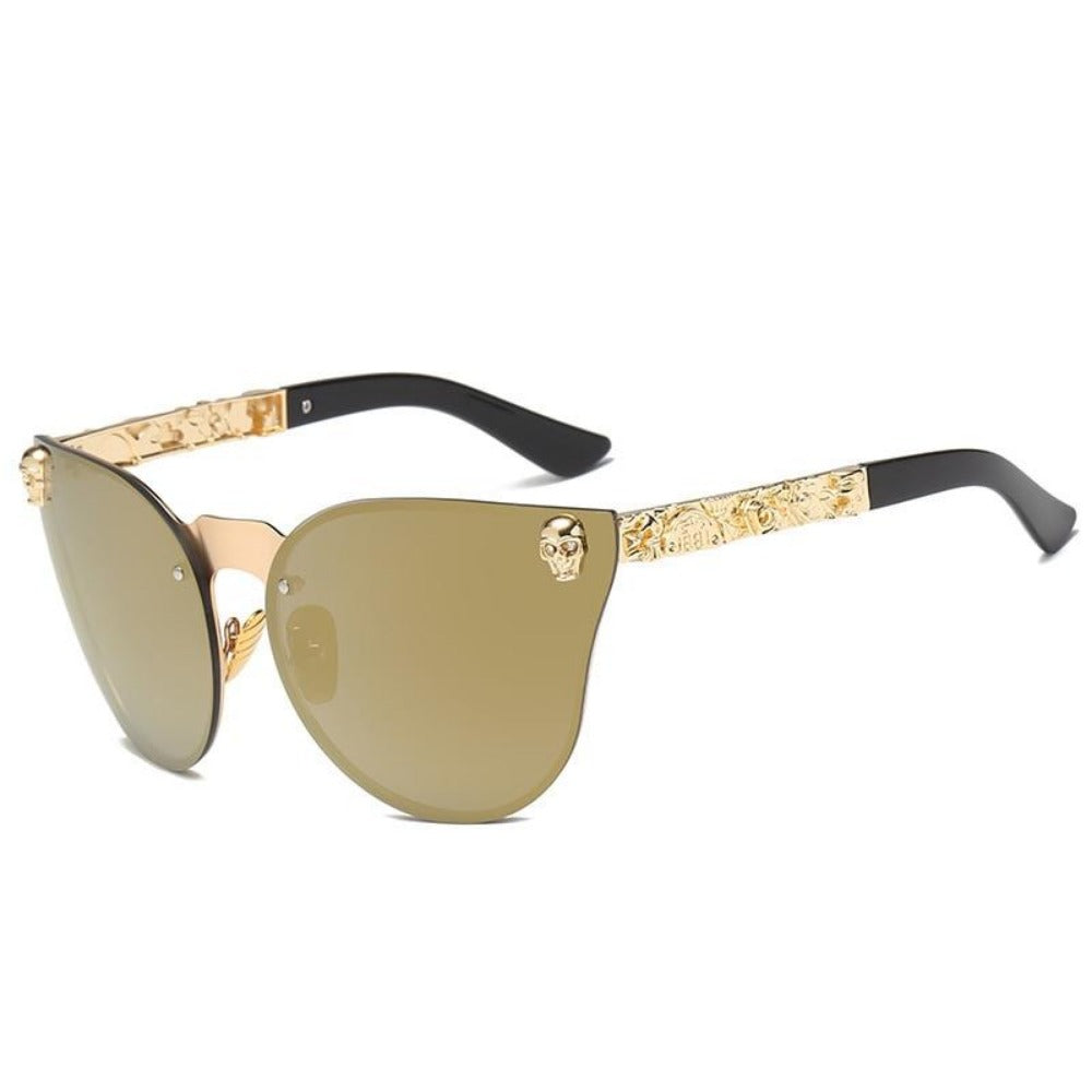 Women's Gothic Style Skull Frame Sunglasses-Ladies Sunglasses-C2-Gold-Gold-Product Details: Women Gothic Sunglasses Skull Frame Metal Temple High Quality Sun glasses Protect Yours Eyes While Reflecting Your Style Lenses Optical Attribute: Mirror Style: Shield Frame Material: Alloy Lenses Material: Polycarbonate Dimensions: Lens Width: 58 mm Lens Height: 45 mm-Keyomi-Sook