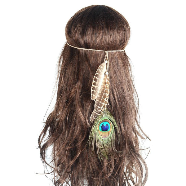 Bohemian Peacock Feather Festival Headdress-Beauty Shop-Product Details: bohemian festival headbands headdress peacock feather hair accessories Weight: 3 g Dimension: Length: 25 cm-Keyomi-Sook