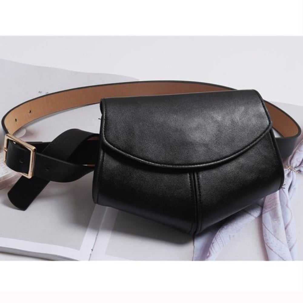 Women'S Serpentine Waist Leather Belt Bag-Women - Bags - Shoulder Bags-Black waist bag-Product Details: Women's Serpentine Fanny Pack Mini Disco Waist Leather Belt Bag Item Type: Waist Packs Main Material: PU Style: Fashion Pattern Type: Solid Shape: Pillow Dimensions: Strap Drop: 102 cm Item Length: 18 cm-Keyomi-Sook