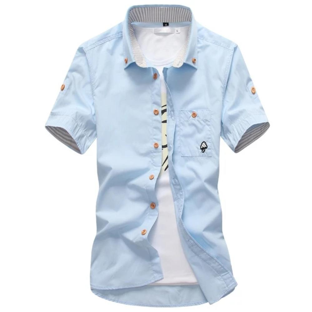 Men's Mushroom Stitching Casual Shirt-Men's Shirt-Sky blue-size M 165cm 55kg-Product Details: Men's Mushroom Embroidery Short Sleeve Casual Cotton Shirt Item Type: Shirts Shirts Type: Casual Shirts Material: Polyester, Cotton Sleeve Length (cm): Short Collar: Turn-down Style: Casual Fabric Type: Broadcloth Fabric: Cotton, Polyester Size Chart:-Keyomi-Sook