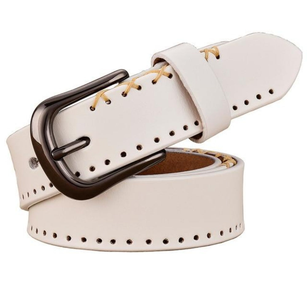 Women's Cross-Stitched Cow Skin Leather Belt-Ladies Belts-White-95cm-Product Details: Women's Cross-Stitched Cow Skin Pin Buckle Genuine Leather Belt Belts Material: Cow Skin Size Chart:-Keyomi-Sook