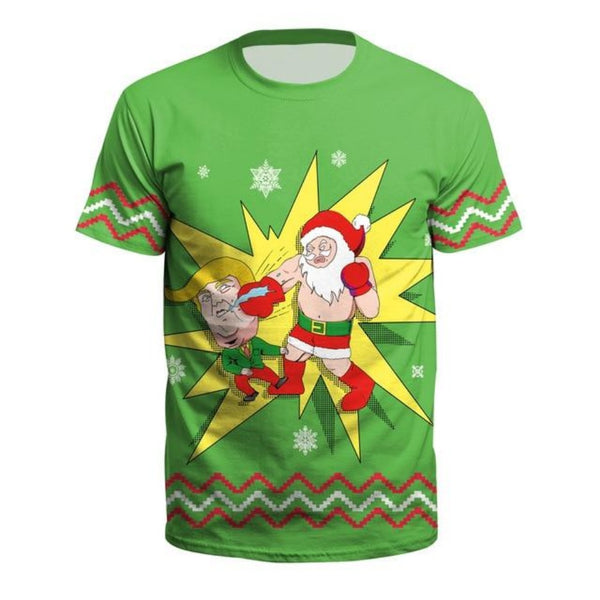 Men & Women's Plus Size Christmas T-Shirt-Holidays-Ndb12-S-Product Details: Men & Women's Plus Size Short Sleeve Christmas T-Shirt Material: Polyester, Spandex Fabric Type: Chiffon Size Chart:-Keyomi-Sook
