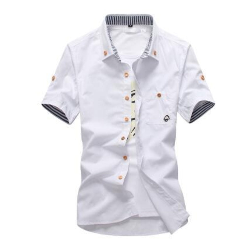 Men's Mushroom Stitching Casual Shirt-Men's Shirt-White-size M 165cm 55kg-Product Details: Men's Mushroom Embroidery Short Sleeve Casual Cotton Shirt Item Type: Shirts Shirts Type: Casual Shirts Material: Polyester, Cotton Sleeve Length (cm): Short Collar: Turn-down Style: Casual Fabric Type: Broadcloth Fabric: Cotton, Polyester Size Chart:-Keyomi-Sook