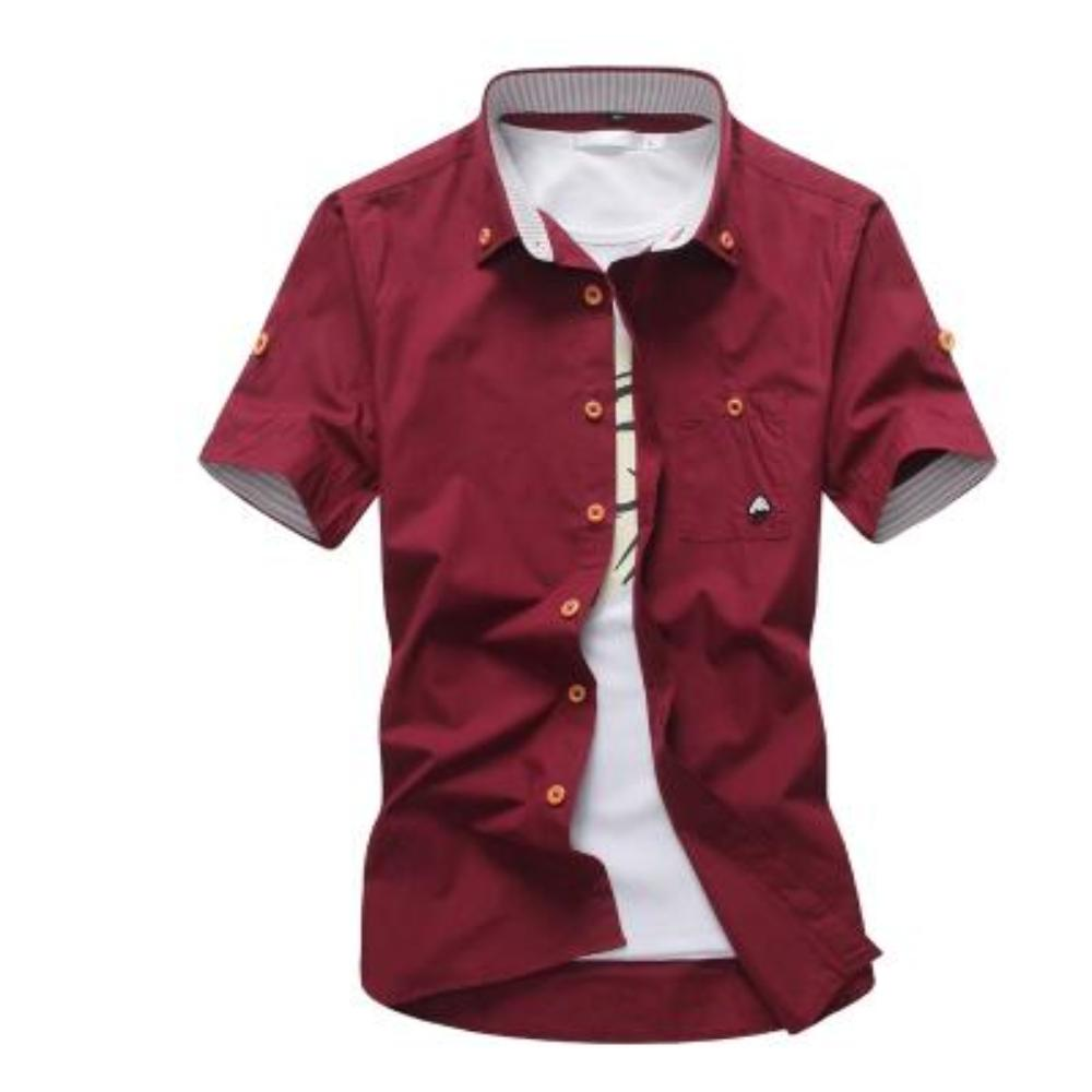 Men's Mushroom Stitching Casual Shirt-Men's Shirt-Red-size M 165cm 55kg-Product Details: Men's Mushroom Embroidery Short Sleeve Casual Cotton Shirt Item Type: Shirts Shirts Type: Casual Shirts Material: Polyester, Cotton Sleeve Length (cm): Short Collar: Turn-down Style: Casual Fabric Type: Broadcloth Fabric: Cotton, Polyester Size Chart:-Keyomi-Sook