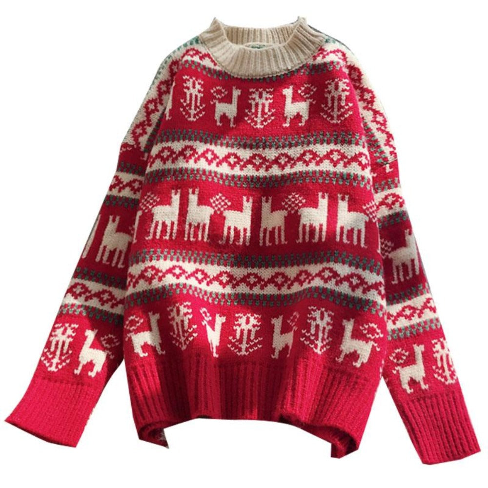 Women's O-Neck Wild Loose Christmas Sweater-Sweaters & Sweatshirts-Product Details: Women's O-neck Full Warm Wild Pullover Loose Christmas Sweater Dimensions: Shoulder: 58 cm Bust: 107 cm Length: 53 cm Sleeve: 41 cm-Keyomi-Sook