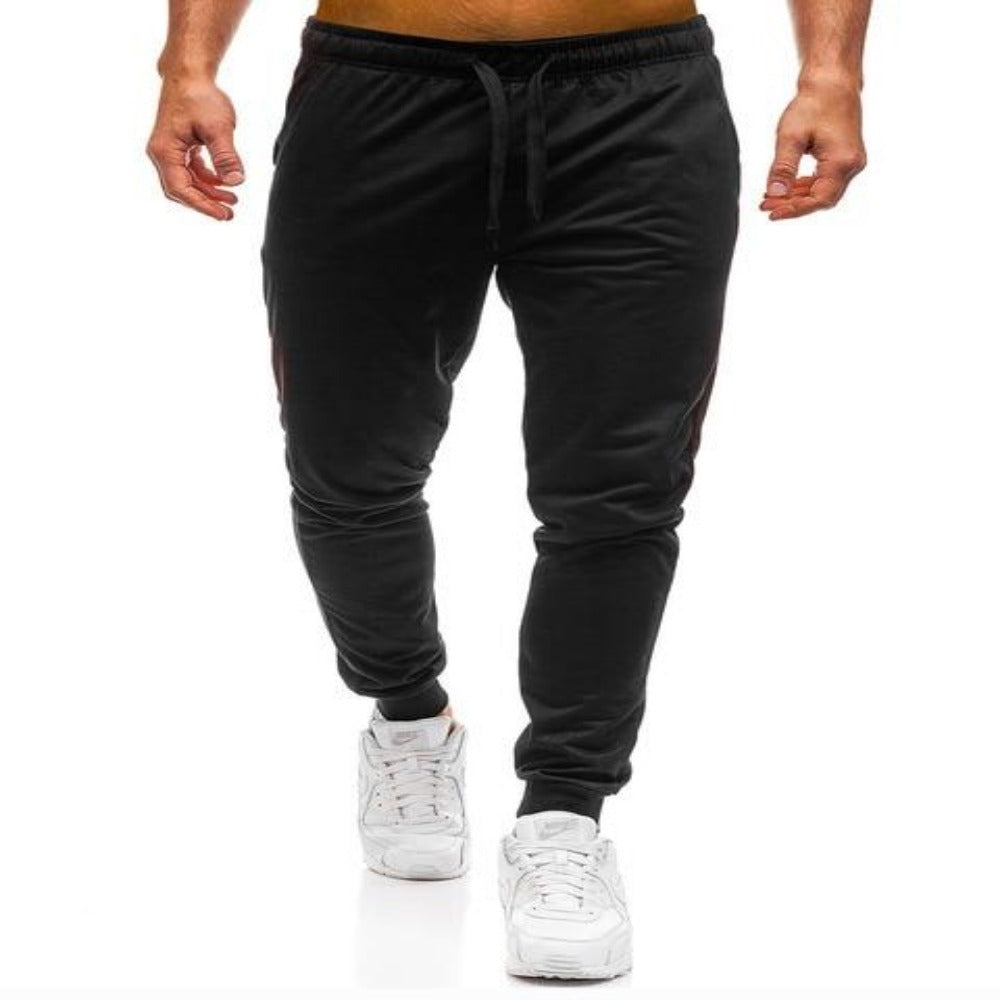 Men'S Elastic Waist Workout Sweatpants-Mens Pants and Shorts-Black Joggers-M-Product Details: Men's Elastic Waist Solid Color Casual Workout Sweatpants Item Type: Full Length Pant Style: Sweatpants Style: High Street Fit Type: Regular Material: Cotton, Polyester Waist Type: Mid Length: Full Length Thickness: Midweight Front Style: Flat Fabric Type: Broadcloth Closure Type: Elastic Waist Size Chart:-Keyomi-Sook