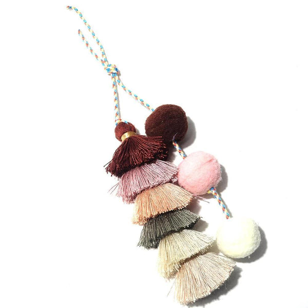 Fur Tassel Pom-Pom Balls Key-Chain-Gifts-Brown-Keyomi-Sook