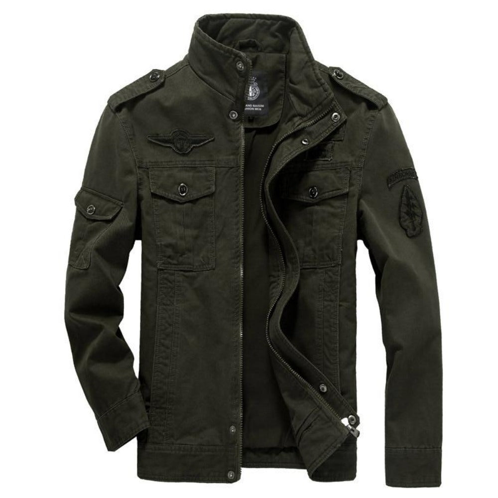 Men's Cotton Military Bomber Jacket-Men's Jackets-Green-M-Product Details: Men's Plus Size Cotton Military Bomber Jacket Material: Cotton Collar: Mandarin Lining Material: Polyester Type: Wide-waisted Decoration: Patch Size Chart:-Keyomi-Sook