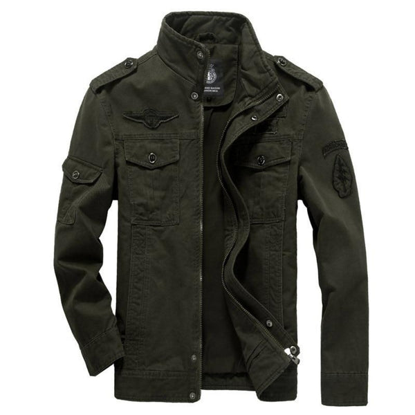 M-6XL Men Military Cotton Jacket-Men's Jackets, Coats & Sweaters-Green-M-Keyomi-Sook