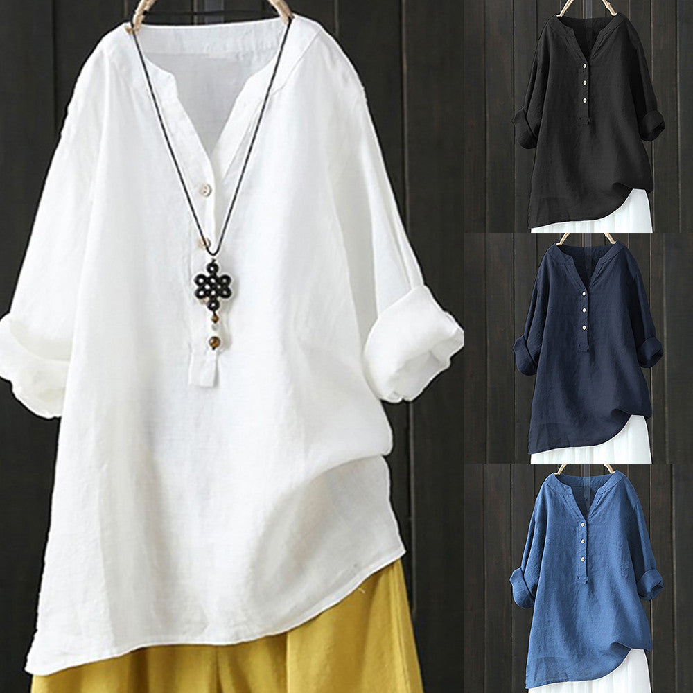 Women's Linen Cotton Long Sleeve Loose Shirt--Product Details: Women's Linen Cotton Long Sleeve Buttons Loose Casual Shirt Season: Summer Occasion: Daily, Casual Material: Cotton Linen Pattern Type: Solid Style: Casual Sleeve Length: Long Sleeve Collar: V-neck Thickness: Standard Size Chart:-Keyomi-Sook