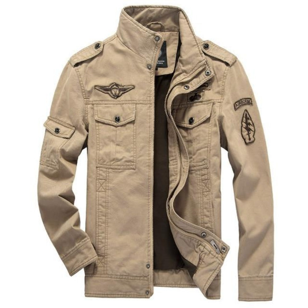 Men's Cotton Military Bomber Jacket-Men's Jackets-Beige-M-Product Details: Men's Plus Size Cotton Military Bomber Jacket Material: Cotton Collar: Mandarin Lining Material: Polyester Type: Wide-waisted Decoration: Patch Size Chart:-Keyomi-Sook