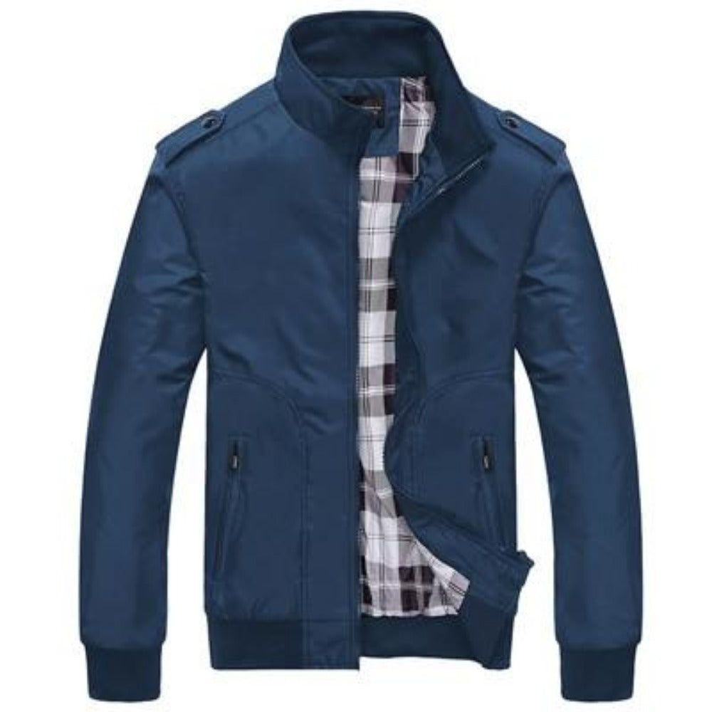 Men's Stand Collar Slim Jacket-Men's Jackets-Blue-M-Product Details: Men's Stand Collar Slim Casual Bomber Jackets Collar: Stand Lining Material: Polyester Material: Polyester Cuff Style: Conventional Decoration: Pockets Closure Type: Zipper Size Chart:-Keyomi-Sook