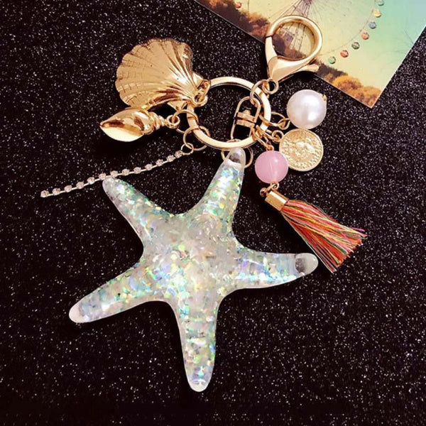 Starfish, Pearl & Shell Keychain-Gifts-Product Detail: Starfish, Pearl & Shell Stainless Pendant Keychain Material: Stainless Style: Trendy Package Includes: 1 pc * key-chain-Keyomi-Sook